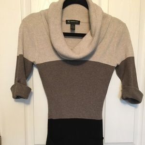 INC Black gray and tan tunic